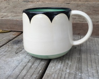 B/W/Mint mug scallop