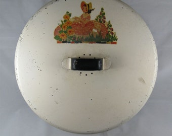 Vintage 1940s Tin Cake Holder Keeper Carrier with Decal of Garden Girl with Handle and Vents