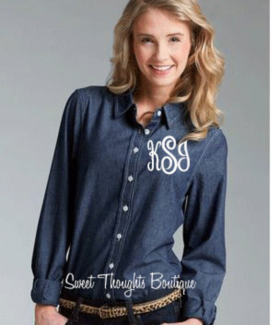 Monogrammed Women's Chambray Shirt~ Monogrammed Women's Denimn Shirt- Monogrammed Bridesmaid Shirt~ Personalized Bridesmaid Shirt