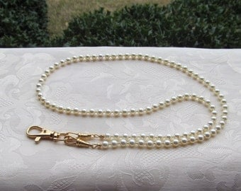 Ivory Beaded Lanyard Swarovski Pearl Cream Lanyard Necklace ID Badge Holder