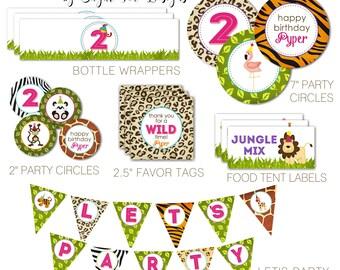 Girl Zoo, Jungle, Safari Themed Birthday, Wild Animals Party Pack - PRINTABLE