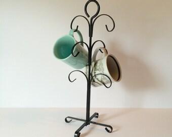 Vintage Black Metal Coffee Mug/Cup Tree Stand, Jewelry Tree Stand, Jewelry Holder, Coffee Cup Tree Stand, 6 Mug Tree Stand, Necklace Stand