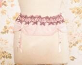 """Vintage Pink Embroidered Garter Belt, Suspender Belt. Waist Circumference: 34 - 43"""""""