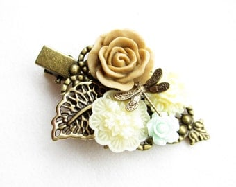 Haarclip,hairclip,Haar-Accessoire,Hair Accessories, Shabby Chic, Romantic,Braut,bride,caramel,creme,mint