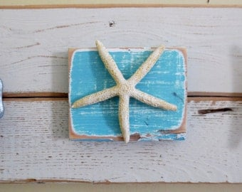 READY TO SHIP Boat Cleat Towel Coat Hooks Turquoise White Nautical Decor Starfish Recycled Wood Ocean Decor Sea Coastal Decor Towel Rack