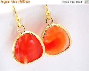 SALE Orange Earrings, Glass Earrings, Gold Orange, Tangerine Earrings, Bridesmaid Earrings, Bridal Earrings Jewelry, Bridesmaid Gifts