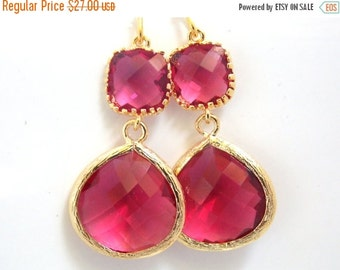 SALE Gold Fuschia Earrings, Glass Earrings, Fuchsia, Hot Pink, Dark Pink, Wedding Jewelry, Bridesmaid Earrings, Bridal Jewelry, Bridesmaid G