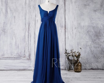 2016 Royal Blue Bridesmaid Dress, Scoop Neck Chiffon Wedding Dress, A Line Prom Dress, Women Formal Dress, Low Back Evening Gown (J018)