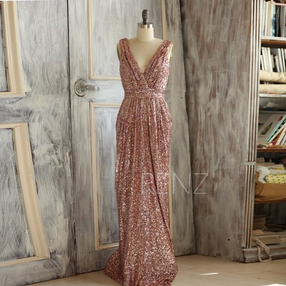 2017 Short Rose Gold Bridesmaid Dress Sequin V Neck Luxury