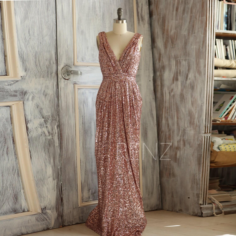 Gold Bridesmaid Dresses: 2016 Short Rose Gold Bridesmaid Dress Sequin V Neck By