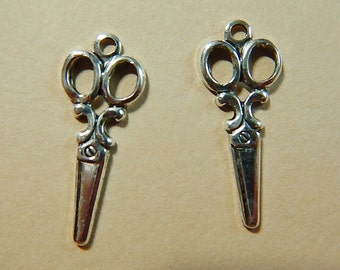 2 Pc Matte Silver Ox Scissors Charm Stamping One-Sided Jewelry Altered Art Mixed Media One Pair