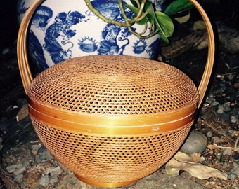 Vintage open weave Chinese basket with cover