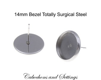 20 x Earring with 14mm Bezel Stud & Bezel  Completely Stainless Steel With Back Choices - AUSTRALIA