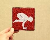 Bakasana Crow Pose, 4x4 inch canvas, Yoga Asana Series, freehand applique art, all recycled fabrics, sewn on a 1968 Singer, ready to hang