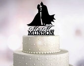 Batman Wedding Cake Topper - Personalized Monogram Cake Topper - Mr and Mrs  - Acrylic Cake Topper - Wedding Decor - wc-041