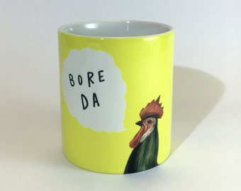 NEW Bore Da  Welsh Good Morning Bright Yellow Ceramic Mug 11oz