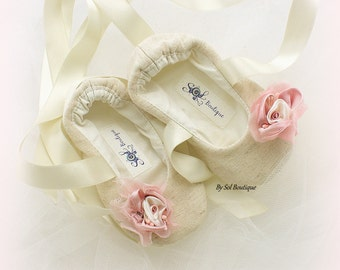 Baby Girl Shoes, Tan, Pink, Blush, Baby Flats, Baptism, Ivory Shoes, Baby Ballet Flats, Birthday, Linen Shoes, Gift for Baby, Christening
