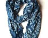 Hand Block Printed Cotton Scarf with Natural Indigo Dye - Blue