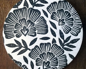 Set of Eight Block Printed Coasters