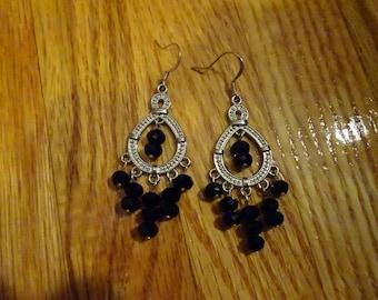 Black & Silver Chandelier Earrings
