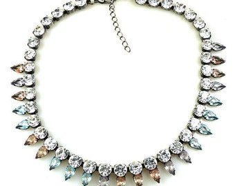 Luxury Swarovski Navette Rhinestone Necklace pastel tones - PASTEL SPRING BLISS