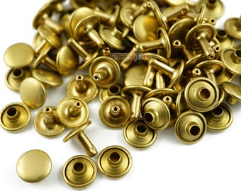 Size: 10*8mm Brass Material Double Cap Round Rapid Rivet Punk Rock Leathercraft Rivet 10*8mm [Cap Diameter*Shank length] (TR-RI10x8)
