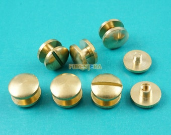 10*3mm Solid Brass Rivet Chicago Screw for Leather Craft Belt Wallet / Cambered Head (RB10X3)