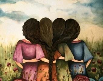 The four sisters black curly hair best friends brisdemaid present  art print