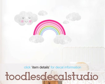 Rainbow Wall Decal in Reusable Fabric Sticker, Girls Rainbow Nursery Decal, Clouds Decal, Cloud Stickers, Playroom Decal, Girls Rainbow Art