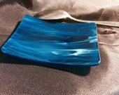 """4"""" TEAL BLUE WISPY 3x4"""" Kitchen Spoon Dish Bluegreen Stained Glass TB3"""
