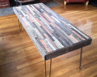 Reserved for Amanda -  Reclaimed Rustic Wood with barnwood Legs in a Mosaic Pattern