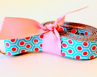 Girls Coral and Aqua Belt D ring Girls Belt Girls Ribbon Belt Girls Coral D Ring Belt Girls Turquiose Belt Little Girls Accessory