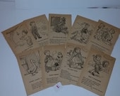 E Vintage nursery rhyme book pages words and pictures old paper supplies ephemera black and white illustrations
