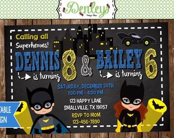 Batman and Batgirl Birthday Invitation (BG01)