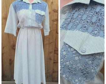 CLEARANCE - Vintage periwinkle stripe blue cotton 80s day dress - size medium