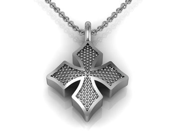 Maltese Cross Charm Necklace in 14k White Yellow Rose Gold | made to order for you within 5-7 business days