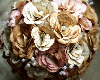 Medium sized, soft pink, cream and sepia edged book page flower bouquet.  Customizable to your colors.