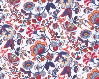Fat eighth Mabelle F, blue, mustard and orange traditional floral Liberty of London tana lawn