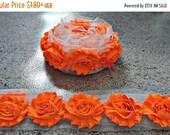 ON SALE Neon Orange Chiffon Flowers / 1/2 Yard or 1 Yard Shabby Flower Trim / Headband Flower / Wholesale Fraying Rosettes Chiffon Trim Flow