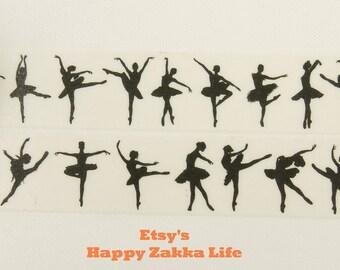 Ballet in Black - Japanese Washi Masking Tape - 11 Yards