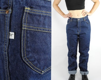 HOLIDAY SALE 1980s Silver Unicorn jeans / 80s vintage straight leg denim / high waisted dark wash jeans / fit like women's size 12