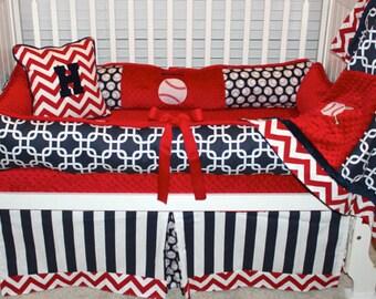 Boys custom crib bedding Baseball set 4 pieces