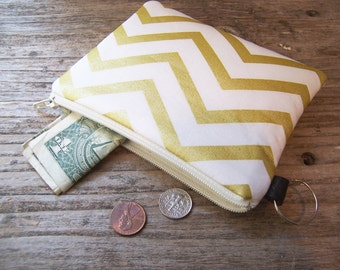 Change purse- Coin purse -  small zipper wallet inoffwhite fabric with gold chevron, has a keyring ,will fit all your cards and change.