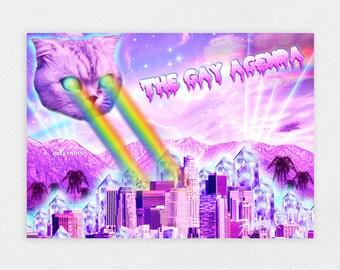 "The Gay Agenda 8"" x 10"" Space Cat Print - LGBT Rainbow Cats Kitten Pastel Kawaii Gay Pride Space Cat Laser Cat"