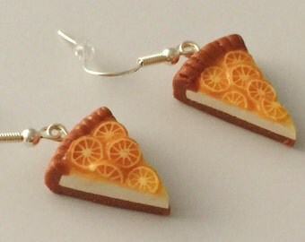 Food jewelry. Fruit Tart slace earrings. Sweet earrings. Funny jewelry