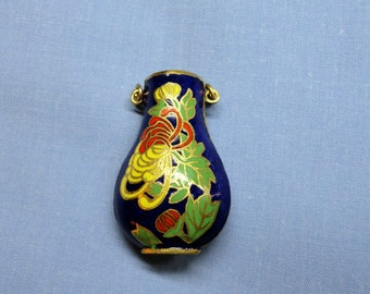 Vintage Cloisonne Pendant - Miniature Vase, Enamel over Brass, bright blue, Chrysanthemum in red, yellow & green leaves, double handles