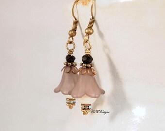 Lucite Flower Earrings, Grey Victorian Earrings  Lucite and Pearl Dangle Earrings,  Pierced or Clip-on Earrings. OOAK Handmade Earrings.