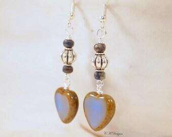 Czech Glass Bead Earrings, Elegant Statement Earrings,  Heart Beaded Pierced Or Clip-On Earrings. OOAK Handmade Earrings.