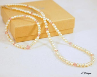 Pearl Necklace and Bracelet Set, Girls Jewelry Set, Pearl and Swarovski Crystal Jewelry, Girls Gift, Set CKDesigns.US