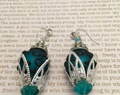 Teal Steampunk Earrings - Limited Edition Made With Teal And Black Lampwork Beads Czech Crystals And Rhinestones Steampunk Victorian Style